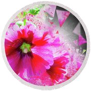 Purple Hocks Giverny Round Beach Towel by Jack Torcello