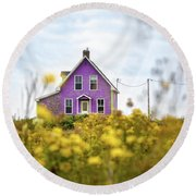 Purple House And Yellow Flowers Round Beach Towel