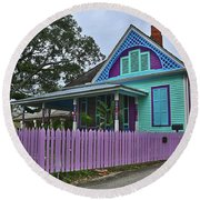 Purple House Round Beach Towel