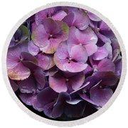 Purple Hydrangea- By Linda Woods Round Beach Towel