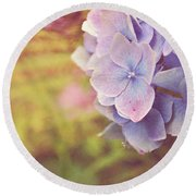 Round Beach Towel featuring the photograph Purple Hydrangea by Lyn Randle