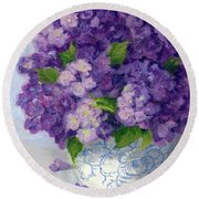 Purple Hydrangeas Round Beach Towel