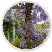 Purple In Priory Park Round Beach Towel