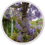Purple In Priory Park Round Beach Towel