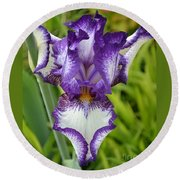 Purple Iris Art Round Beach Towel