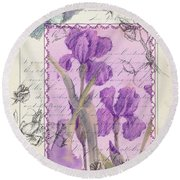 Round Beach Towel featuring the drawing Purple Iris by Cathie Richardson