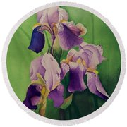 Purple Iris' Round Beach Towel