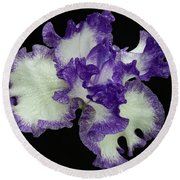 Round Beach Towel featuring the photograph Purple Iris Frills by Jean Noren