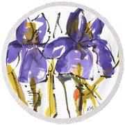 Purple Iris Garden Flowers Round Beach Towel