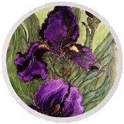 Purple Irises Round Beach Towel