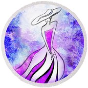 Purple Lady Charm Round Beach Towel