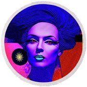 Round Beach Towel featuring the digital art Purple Lady - Deco by Chuck Staley