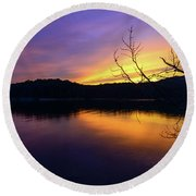 Purple Lake Round Beach Towel