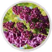 Purple Lilac 1 Round Beach Towel