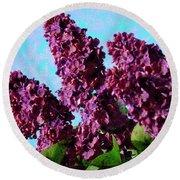 Purple Lilac 2 Round Beach Towel