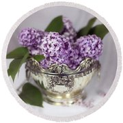 Purple Lilacs In Silver Bowl Round Beach Towel