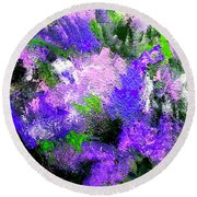 Purple Lilacs Round Beach Towel