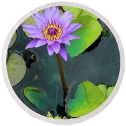 Purple Lilly With Lilly Pads Round Beach Towel
