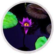 Purple Lily Round Beach Towel