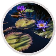 Purple Lily Round Beach Towel