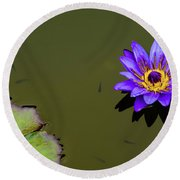 Purple Lily With Tiny Fish Round Beach Towel