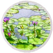 Round Beach Towel featuring the painting Purple Lotus Flower  by Lanjee Chee