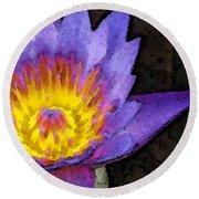 Purple Lotus Flower - Zen Art Painting Round Beach Towel