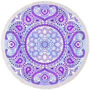 Round Beach Towel featuring the digital art Purple Lotus Mandala by Tammy Wetzel