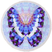 Round Beach Towel featuring the painting Purple Mandala Butterfly Art By Sharon Cummings by Sharon Cummings