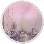 Purple Marina Morning Round Beach Towel