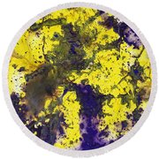 Purple Married Yellow Round Beach Towel