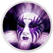Round Beach Towel featuring the photograph Purple Mask Flash by Amanda Eberly-Kudamik