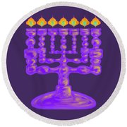 Purple Menorah Flamed Round Beach Towel