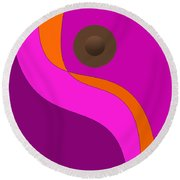 Purple Minimalism - Abstract Round Beach Towel