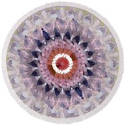 Purple Mosaic Mandala - Abstract Art By Linda Woods Round Beach Towel by Linda Woods