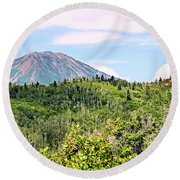 Round Beach Towel featuring the photograph Purple Mountain Majesty by Kristin Elmquist