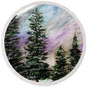 Purple Mountain Majesty Round Beach Towel by Scott D Van Osdol