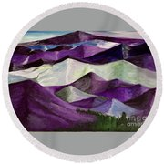 Round Beach Towel featuring the painting Purple Mountains Majesty by Kim Nelson