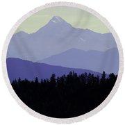 Purple Mountains Majesty Round Beach Towel