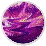 Purple Mountains Reflection Abstract  Round Beach Towel