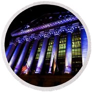 Purple New York Stock Exchange At Night - Impressions Of Manhattan Round Beach Towel