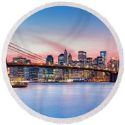 Purple Nyc Sunset Round Beach Towel