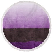 Purple On The Horizon- Art By Linda Woods Round Beach Towel
