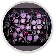Purple Onion Patterns Round Beach Towel