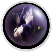 Purple Orb Iris Round Beach Towel