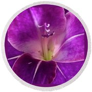 Round Beach Towel featuring the photograph Purple Orchid Close Up by Kim Nelson