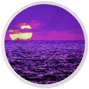 Purple Pacific With Sandstone Texture Round Beach Towel