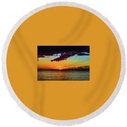 Purple Paints The Orange Round Beach Towel