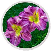 Purple Pair Round Beach Towel