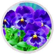 Purple Pansies Round Beach Towel by Wendy McKennon